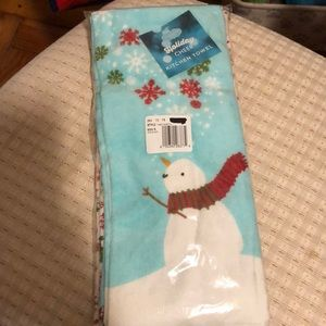 Snowman Christmas dish towels